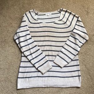 Sweater with navy, cream, tan stripes